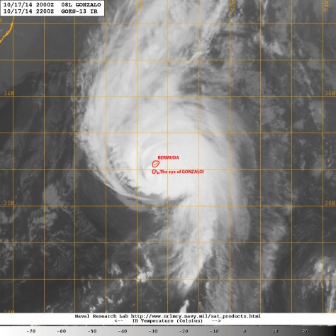 Satellite image (courtesy of the U.S. Navy Research Laboratory) taken at 1800 EST on Friday 17 October 2014 as hurricane GONZALO's eye made a beeline for Bermuda
