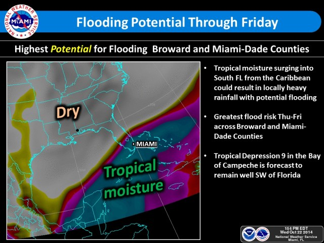 National Weather Service report of TD NINE and the disturbed weather system affecting South Florida since yesterday