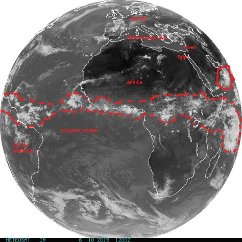 Composite Full Earth Disk satellite image over the Atlantic showing tropical wave activity over Equatorial Africa and 'hurricane alley' across the Atlantic feeding into the Eastern Pacific sub-basin pn 10 June 2015