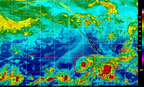 Infrared satellite image of 1 June 2015 showing Hurricane ANDRES and Tropical depression #2 over the Eastern Pacific off the coast of Mexico