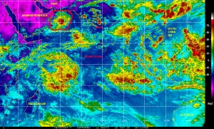 Infrared METEOSAT-7 image of 10 June showing Tropical Storm ASHOBAA over the Arabian Sea, northwestern Indian Ocean, approaching landfall in the Arabian Peninsula