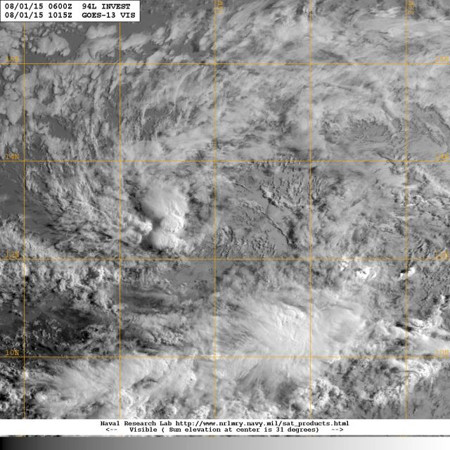 Visible light satellite image [NOAA} showing a low pressure disturbance currently moving westward along 'hurricane alley' in the general direction of the Windward Islands.