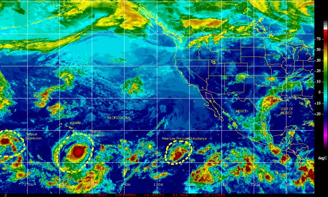 Cp;or-enhanced infrared GPES-West satellite image [NOAA} of 08/21/2015 showing a new low pressure disturbance over the eastern Pacific, now being investigated by the NHC.