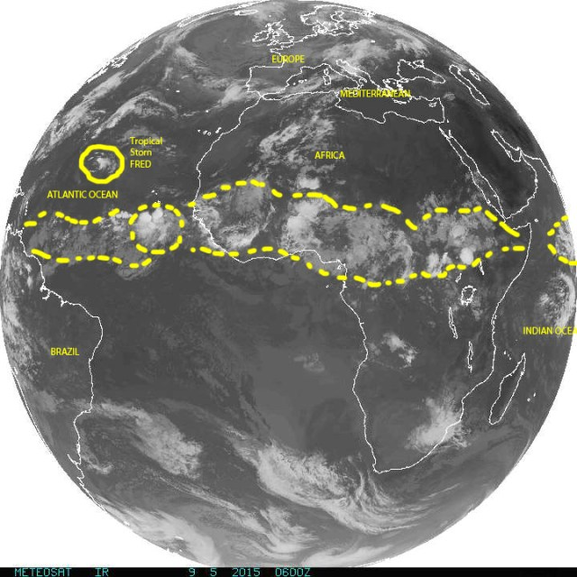 Full disk image of Earth on 09/05/2015 over Africa and the eastern Atlantic, completing our  full circle around our planet