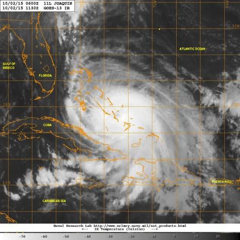 Infrared satellite image of 10/02/2015 [NASA] showing a strong ang strengthening hurricane JOAQUIN hammering the Bahamas