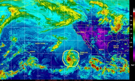NOAA GOES satellite image of 07072016 showing Hurricane BLAS moving over the eastern Pacific approximately 2000 kilometers east of Hawaii