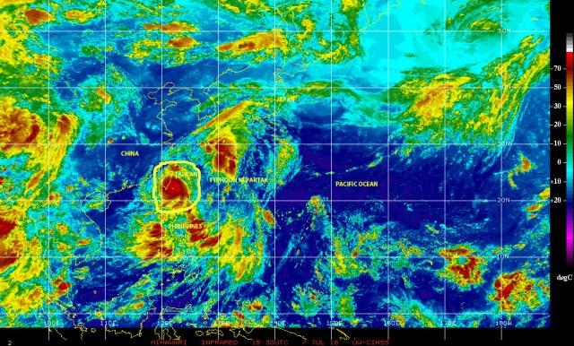 Satellite image [NOAA} of 07072016 showing Typhoon NEPARTAK approaching landfall on the east coast of Taiwan