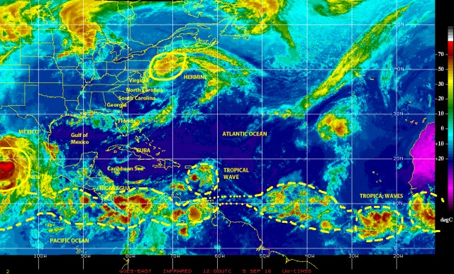 Infrared satellite view of 5 September 2016 showing extra-tropical cyclone HERMINE once again approaching the U.S.A. coast, and tropical wave and disturbed weather activity in the Caribbean and along 'hurricane alley'