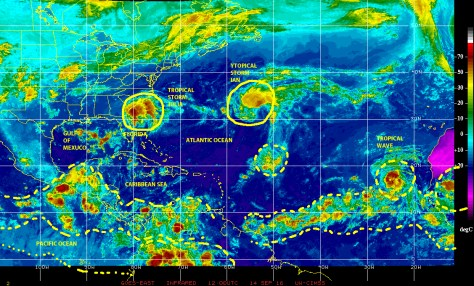 GOES EAST infrared satellite image of 14 September 2016 showing tropical storms IAN and JULIA, and a strong tropical wave over the Cape Verde Islands, which maysoon  become the newest tropical cyclone of the season