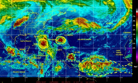 Infrared GOES EAST satellite image of 6 October 2016 at 0500 showing major hurricane MATTHEW, Tropical Storm NICOLE, and other potential cyclonic threats in the north Atlantic basin.