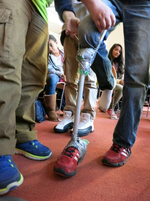 Considering comfort and durability, one team demonstrated their prosthesis's innovative strap.