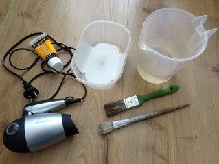 Material für das DIY-Projekt Lampe verschönern mit Farbe