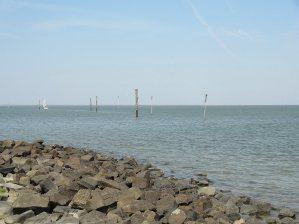 Die Holzpfähle markieren den Weg für die Schiffe.
