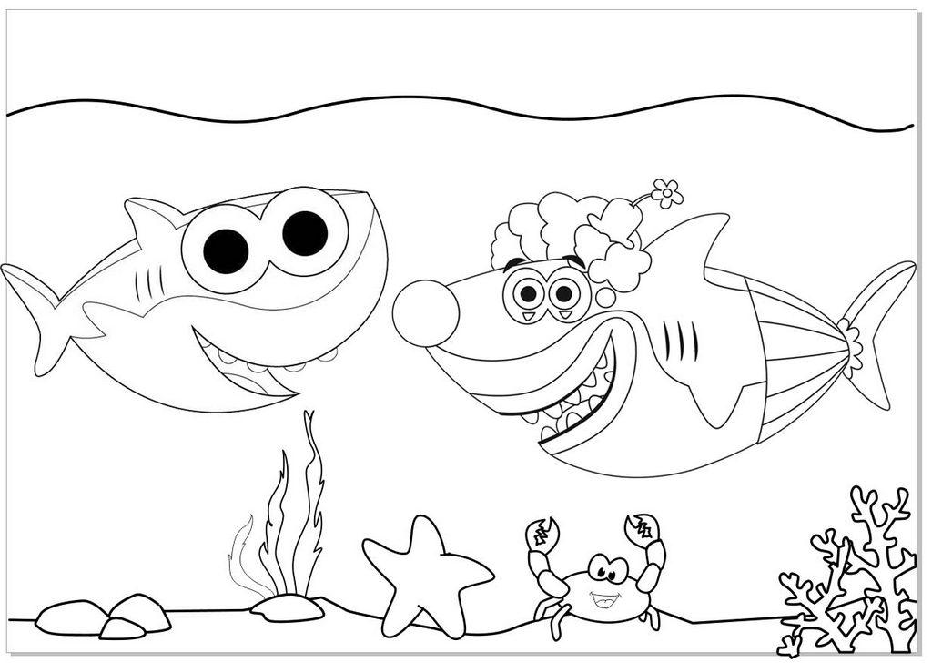 Daddy Shark And Mummy Shark Coloring Page Of Baby Shark Doo Doo Doo Mitraland