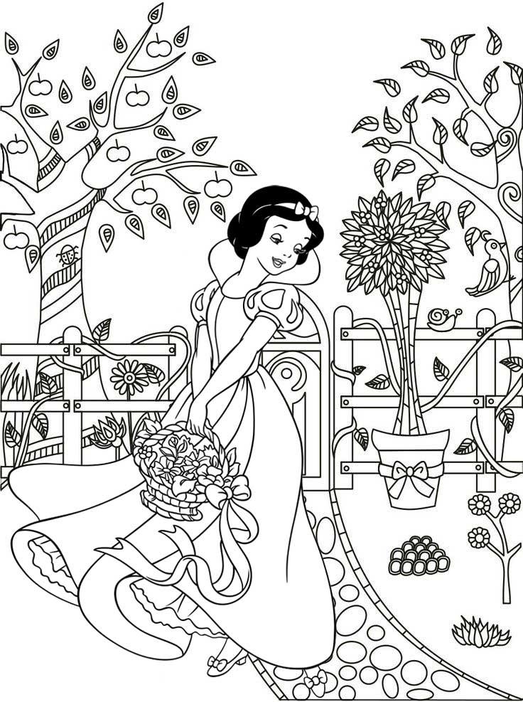 Snow White Coloring Page Of Princess Disney Mitraland