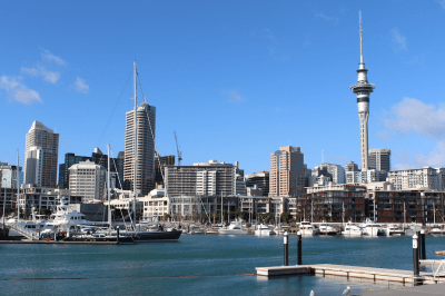 Auckland city skyline from Viaduct Harbour
