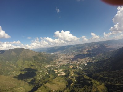 Bird eye view of the city while paragliding