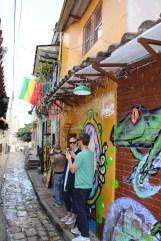Walking through the streets of Bogota during the Graffiti tour