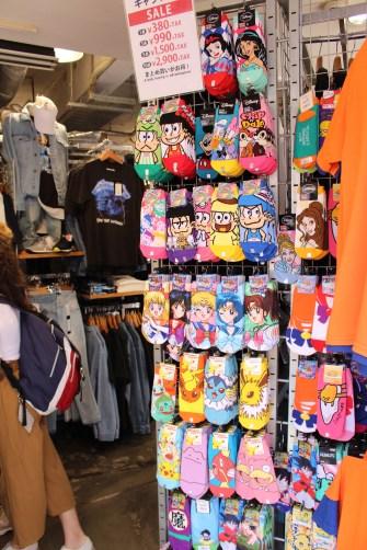 Cool cartoon socks at Takeshita Dori area