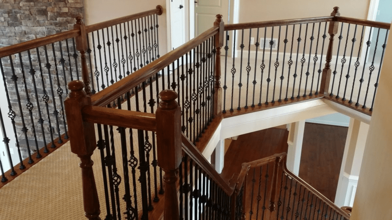 Stair Railings With Wrought Iron Balusters Mitre Contracting Inc   Wrought Iron Stair Railing   Diy   Staircase   Simple   Silver   Horizontal