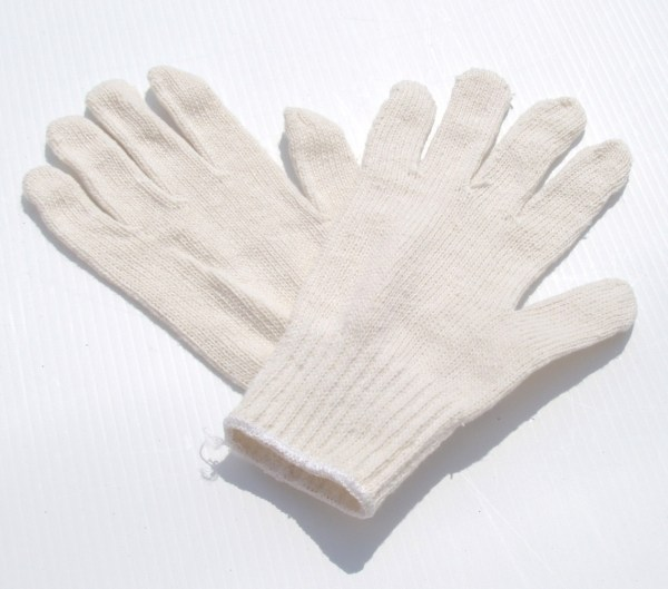 WHITE COTTON/POLYESTER KNIT LINER GLOVES