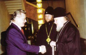 15 ianuarie 1999. Mitropolitul Smolenskului și Kaliningradului Kiril în timpul vizitei sale în Moldova
