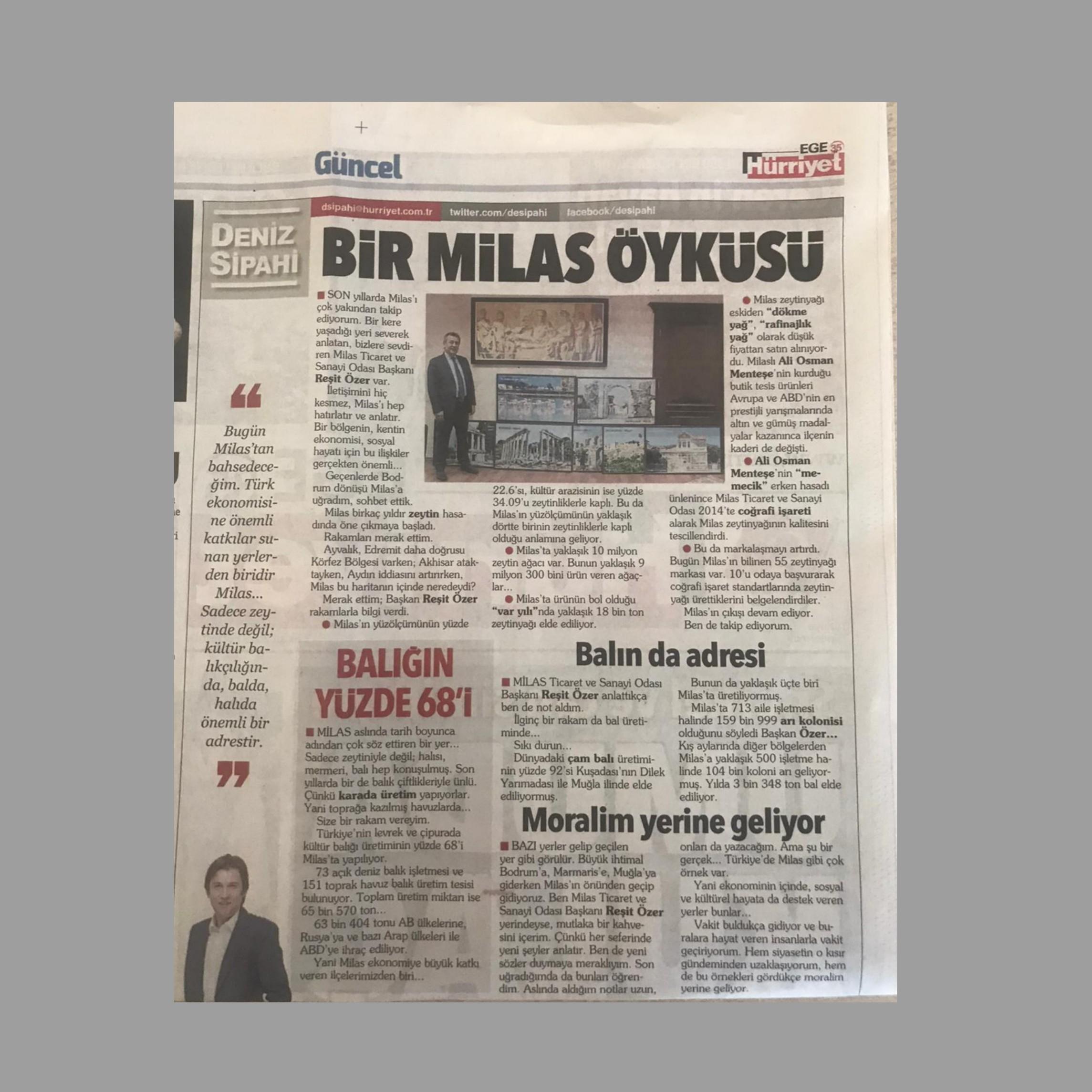 """Hürriyet Ege 35'de Deniz Sipahi'den """"Bir Milas Öyküsü"""""""