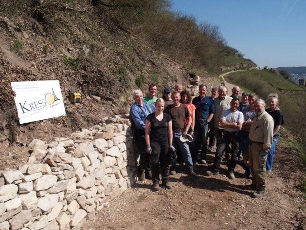 Das Trockenmauer-Seminar fand im April 2018 erstmals im hessischen Teil des Welterbe-Tals statt. Foto: Zweckverband Welterbe Oberes Mittelrheintal.