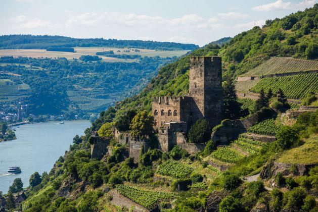 Das Weinanbaugebiet Mittelrhein beginnt rechtsrheinisch bei Kaub. Foto: Romantischer Rhein Tourismus / Henry Tornow