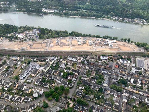 Luftaufnahme des Rheinquartier-Areals. Foto: Innenministerium RLP.