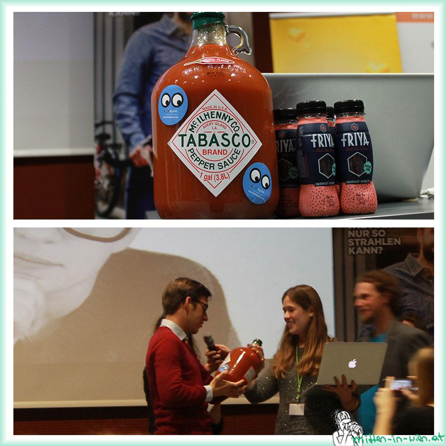 Tabasco-Flasche und der glückliche Gewinner!