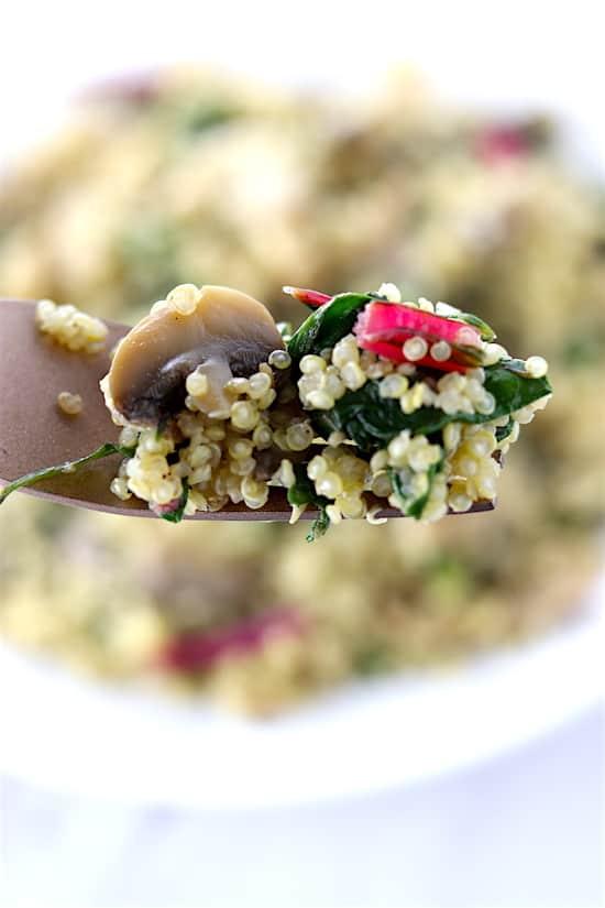 swiss chard and mushroom quinoa close up