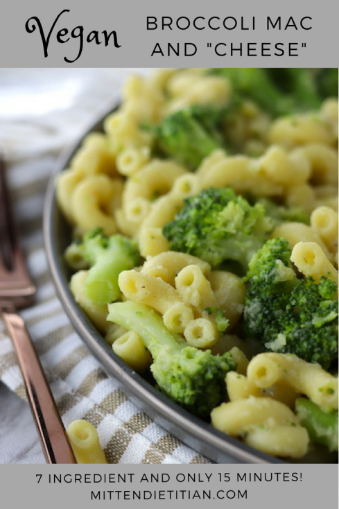 """Vegan Broccoli Macaroni and """"Cheese"""", only 7 ingredients and ready in 15 minutes!"""