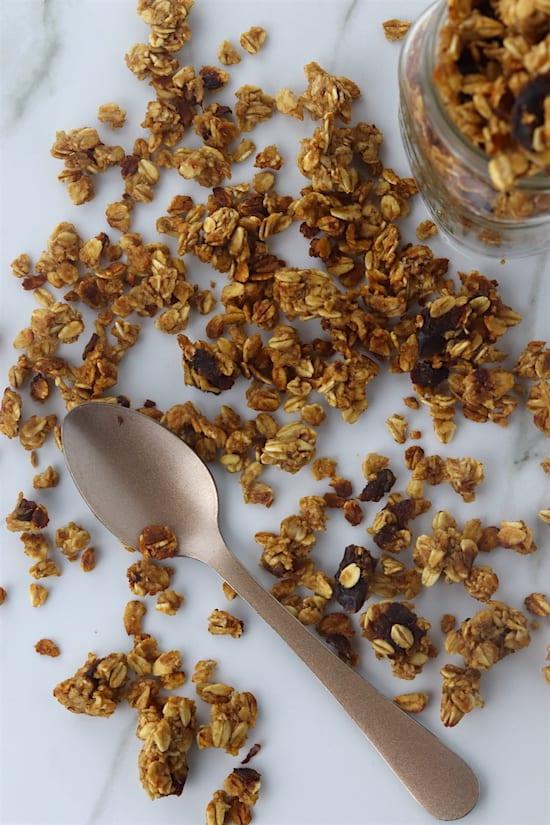 cinnamon date granola spilled