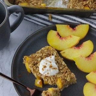 cinnamon peach bakes oatmeal on a plate