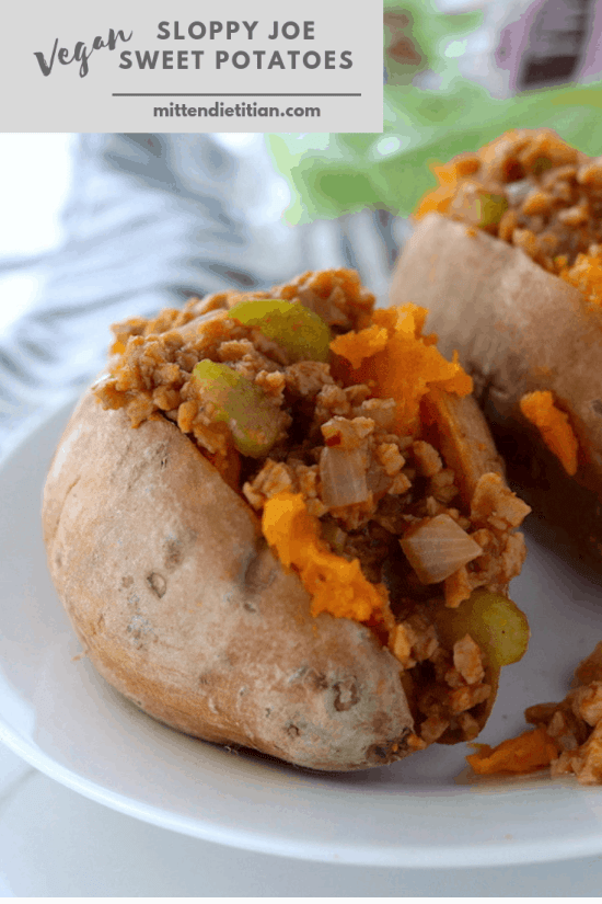 The BEST vegan sloppy joe sweet potatoes! They're an easy, health, quick dinner that comes together in 20 minutes!