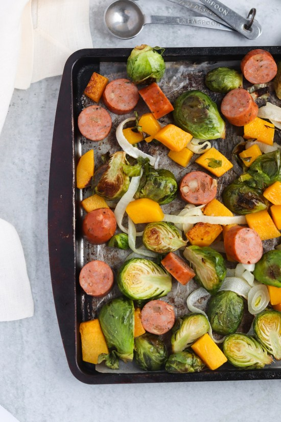 This sheet pan butternut, brussels, and sausage will be your weeknight life saver! Quick, easy, and next to no dishes!