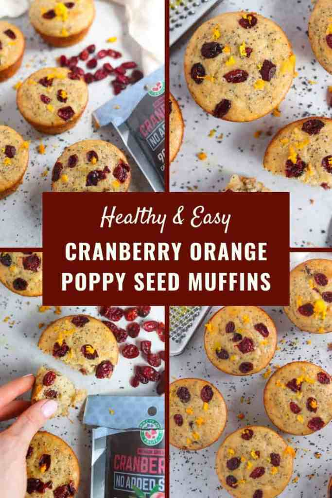 The FLUFFIEST healthy & easy cranberry orange poppy seed muffins! #easyrecipes #muffinrecipe #cranberrymuffins #healthymuffins #healthybaking