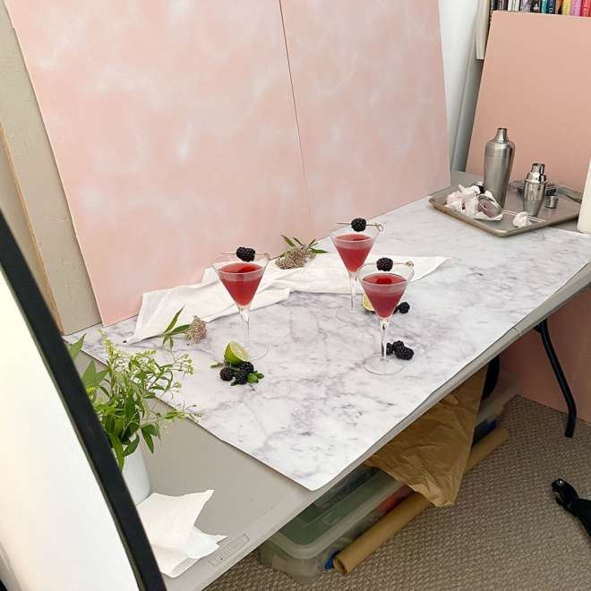 Photo set up for blackberry vanilla martinis