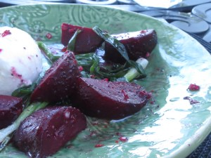 Grilled Beets with Burrata and Poppy Seed Vinaigrette H