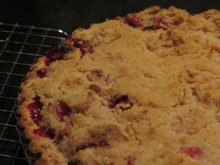 Cranberry Crumb Tart Fresh Out of Oven