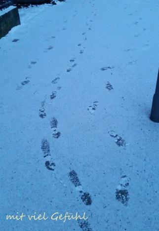 erste Fußspuren im Schnee