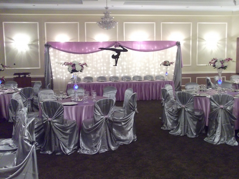 Theatrical wedding reception setup