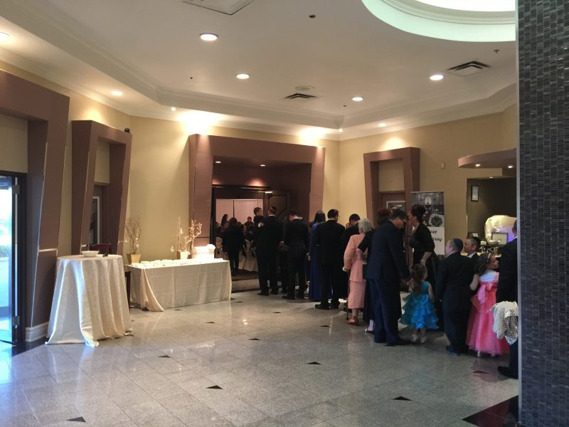 Bridal Party Waiting to Enter Ball Room