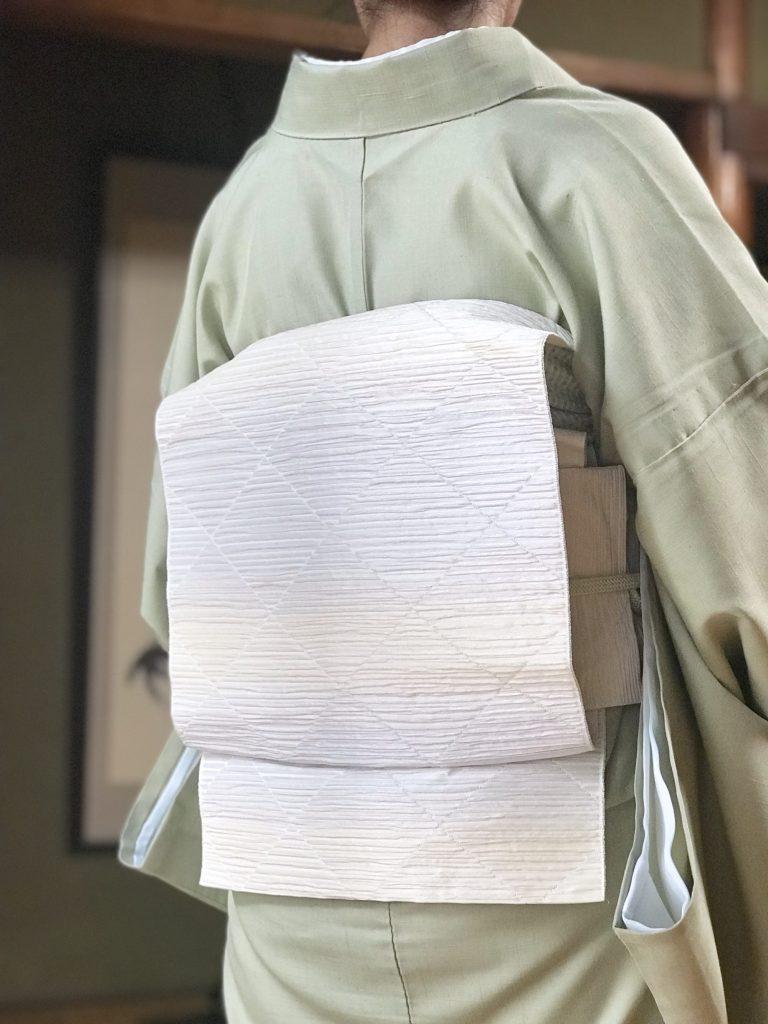 着物コーディネート 単衣 博多八寸名古屋帯