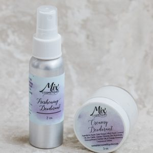 pair of natural, aluminum free deodorant a natural spray deodorant and a natural cream deodorant