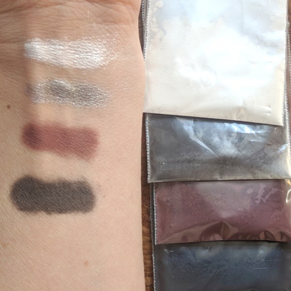 """Rich results on Google's SERP when searching for """"make eyeshadow"""" displaying the four colors of the organic, DIY make your own eyeshadow palette called smokey eye with white silver burgundy and deep grey eyeshadow colors eyeshadow"""