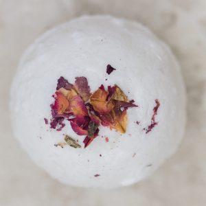 Rose Geranium Bath Bomb with rose petals