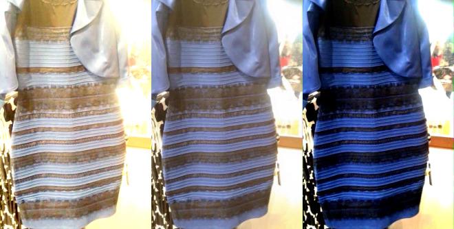 vestido preto e azul ou branco e dourado