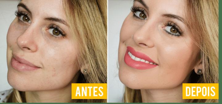 Antes e Depois pele perfeita com produtos baratos